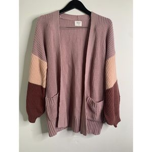Sienna Sky Pink Open Front Color Block Cardigan